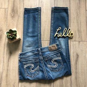 Silver Natsuki Crop Jeans Blue